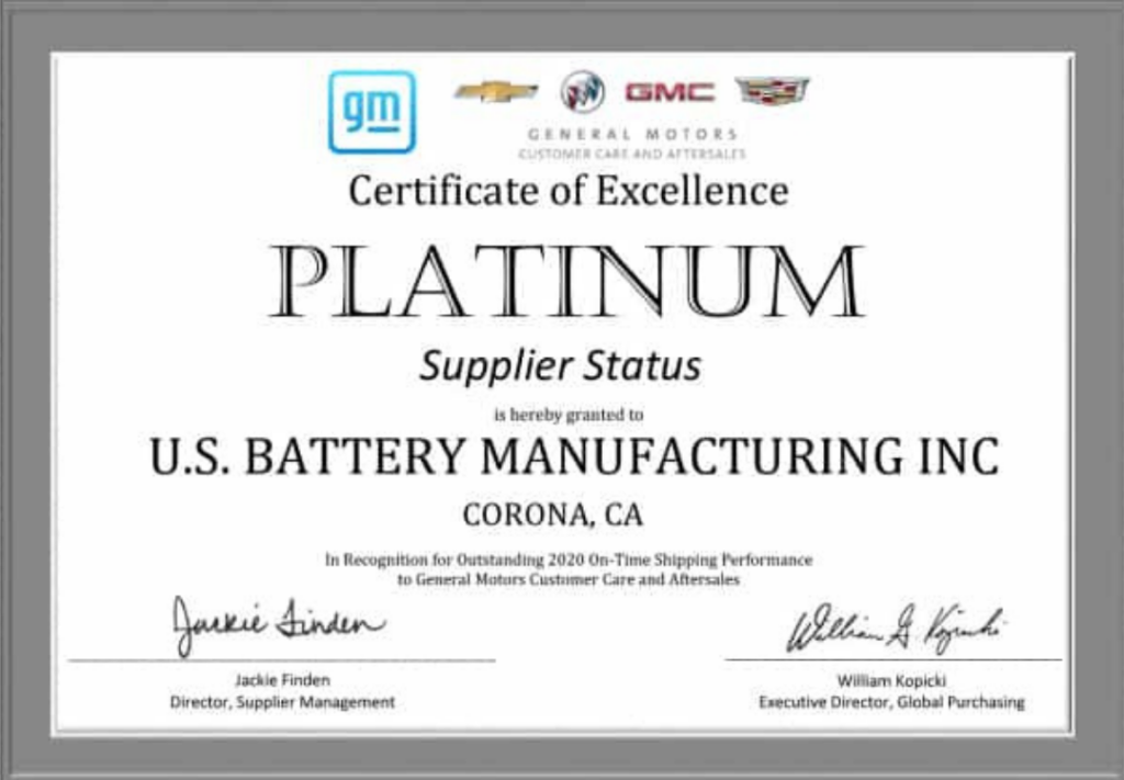 US Battery-premio platino de General Motors por la rapidez en envíos