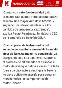 CEMA Baterías, en diario MARCA
