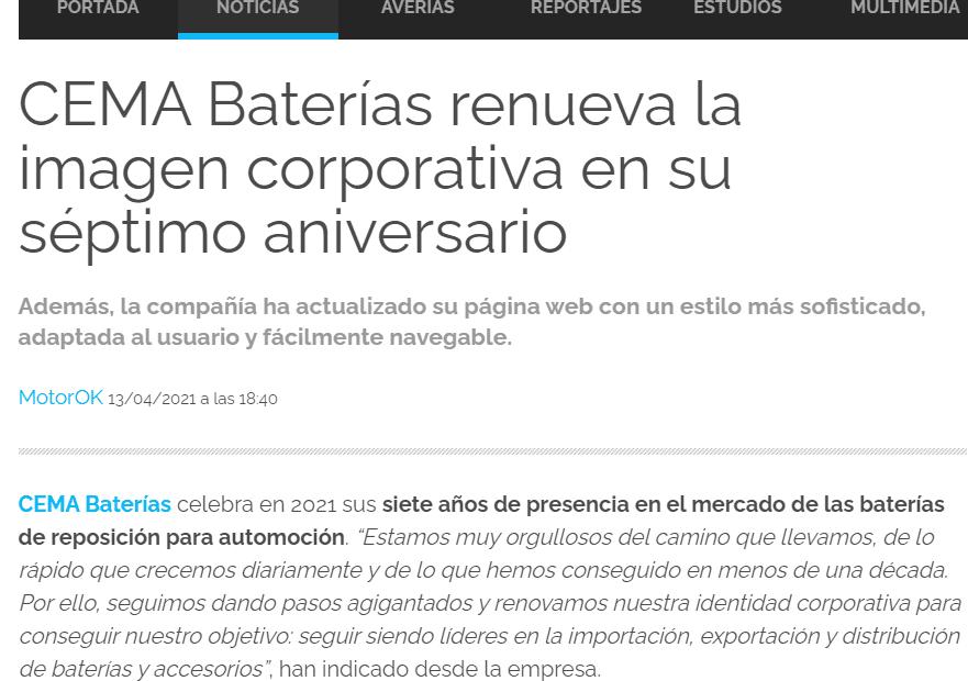 Motor OK 7 aniversario CEMA Baterías