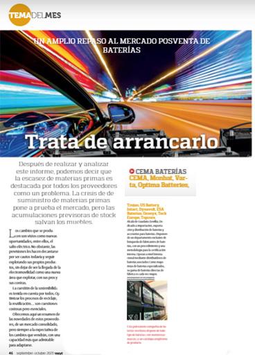 CEMA Baterías en la revista Mundo Recambio y Taller